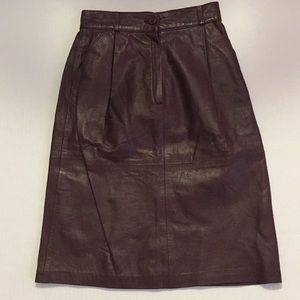 Vintage leather skirt oxblood burgundy lined